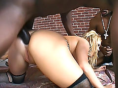 Interracial anal sex with two black guys